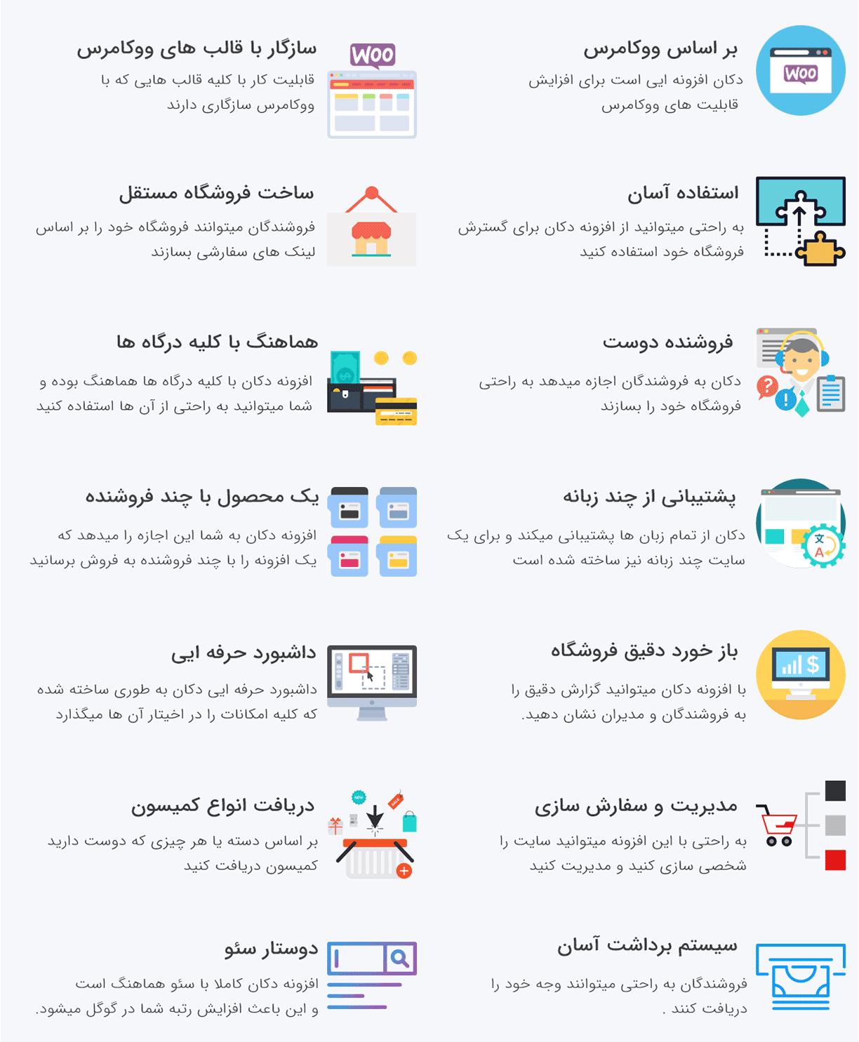 ویژگی های افزونه دکان نسخه پرو